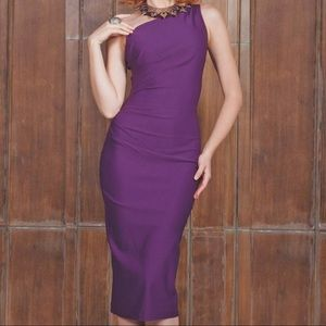 Stop Staring! Gathered Ava Dress in Eggplant Sz L